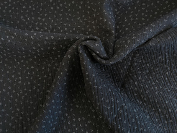 "Baumwollstoff ""Triple Layer Print Star Black""  - Quality Textiles"
